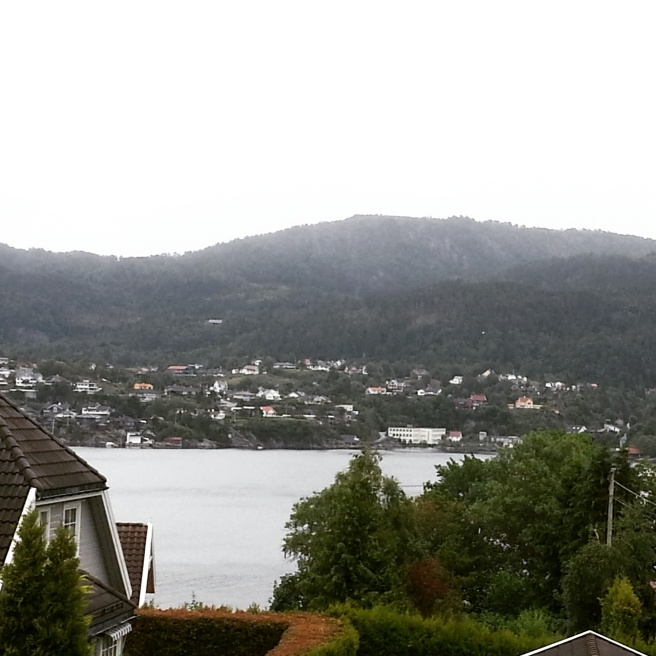 Šāds skats pavērās no mājiņas fjordā, kurā dzīvoju pie drauga mammas.
