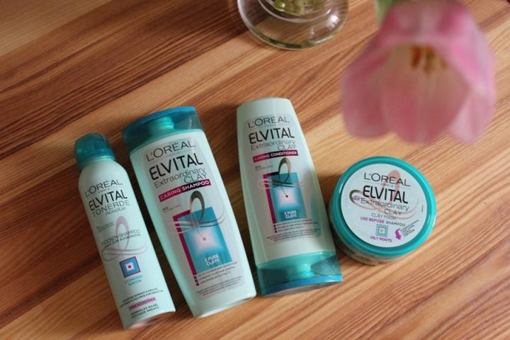 L'Oreal Elvital Extraordinary Clay Shampoo, Conditioner, Clay Mask and Dry Shampoo