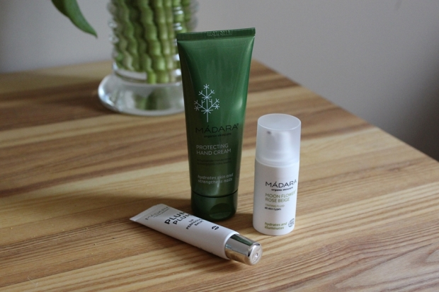Madara Plum Plum lip balm, Moon Flower tinting fluid and protecting hand cream