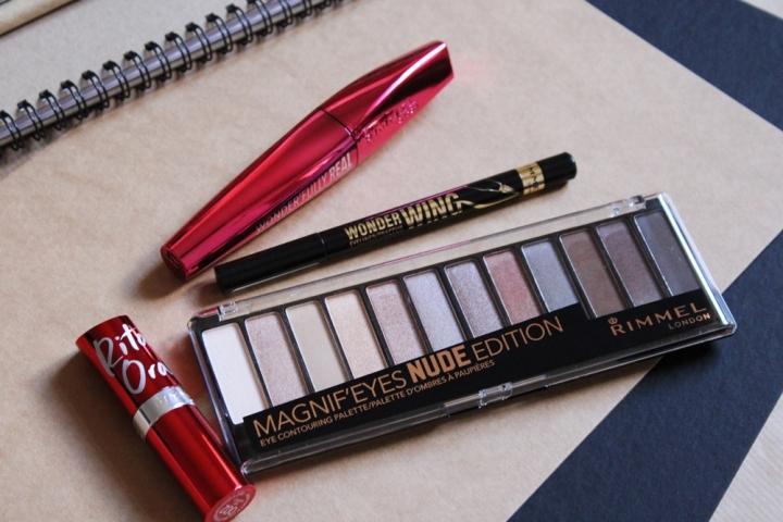 Rimmel Magnif'Eyes Nude Edition Eyeshadow Palette Rimmel Rita Ora Lasting Finish Red Instinct Lipstick, Rimmel WonderWing Eyeliner