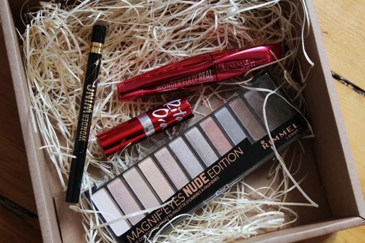 Rimmel Magnif'Eyes Nude Edition Eyeshadow Palette Rimmel Rita Ora Lasting Finish Red Instinct Lipstick, Rimmel WonderWing Eyeliner Drugstore Makeup
